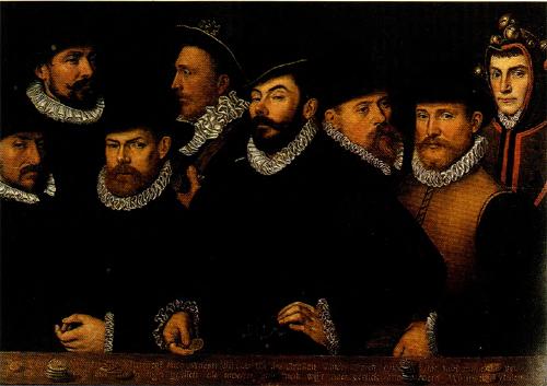 Portret van Muntmeester Clemens van Eembrugge en zijn personeel